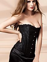 Corset Vêtement de nuit Femme,Lace / Imprimé Jacquard-Moyen Polyester Blanc / Noir Aux femmes