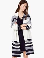 Women's Casual/Daily Street chic Slim Long Cardigan,Striped Black Cowl Long Sleeve Fall Medium