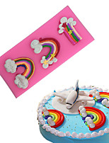 The Rainbow And Clouds Type Candy Fondant Cake Molds  For The Kitchen Baking Molds 12.9*7.3*1.2cm