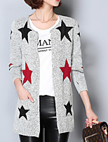 Women's Going out /Street chic Long Cardigan,Geometric Gray Round Neck Long Sleeve Acrylic Spring / Fall Medium