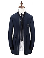 Men's Solid Casual / Formal / Plus Sizes Trench coat,Bamboo Fiber / Polyester Long Sleeve-Black / Blue