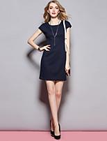 Damen Hülle Kleid-Ausgehen Street Schick Solide Rundhalsausschnitt Knielang Kurzarm Blau Baumwolle Sommer