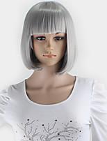 peluca gris plata Kuriyama mirai pelucas cortas lolita cosplay partido gris pelo sintético del anime de la mujer