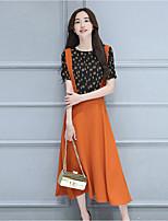 Going out Cute Summer T-shirt SkirtPrint Round Neck Short Sleeve Orange Linen / Rayon Medium