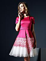 klimeda женщин вскользь / ежедневно мило линия одежды, лоскутное вокруг шеи выше колена с коротким рукавом полиэстера летом