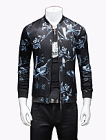 Men's Fashion Chinese Style Printed Casual Slim Fit Jacket; Print/Plus Size/Outdoor
