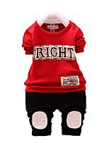 Мальчик Набор одежды,На каждый день,С принтом,Хлопок,Осень,Черный / Красный / Белый / Серый