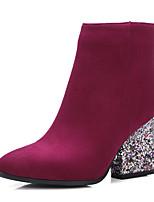 Черный / Красный / Серый-Женский-Для праздника / На каждый день / Для вечеринки / ужина-Дерматин-На толстом каблуке-На каблуках / Ботинки