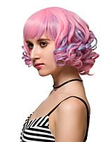rosa breve moda capelli ricci parrucche parrucche sintetiche