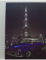LED Canvas Print,Khalīfa tower & Classic Car