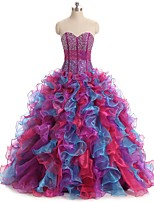 Formal Evening Dress Ball Gown Sweetheart Floor-length Organza with Pick Up Skirt