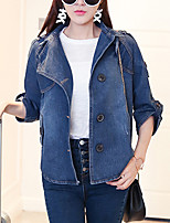 Women's Plus Size / Going out / Casual/Daily Simple Fall Denim Jackets,Solid Peaked Lapel ¾ Sleeve Blue Cotton Medium