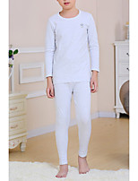 Unisex Casual/Daily Solid Sets,Cotton Winter Spring Fall Long Sleeve Sleepwear