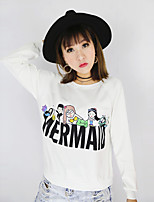 Women's Casual/Daily Vintage Regular Hoodies,Print White / Black Round Neck Long Sleeve Polyester Fall Medium