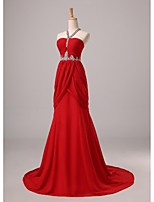 Formal Evening Dress A-line Halter Sweep / Brush Train Chiffon with Beading / Side Draping