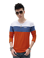 Men's Plus Sizes Casual / Sport Long Sleeve T-Shirt Fashion Solid Color Splicing Round Neck Hit Color Tops