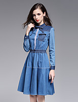 Boutique S Going out /Daily / Holiday /Cute / Street chic Sheath Dress,Solid Shirt Collar Knee-length Long Sleeve