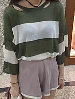 Damen Standard Pullover-Ausgehen Einfach Gestreift Blau / Beige / Schwarz / Grün Rundhalsausschnitt Langarm Baumwolle Herbst Mittel