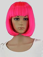 Pink Hair Dye Women Short Bob Perucas Wavy Cosplay Sexy Party Hairstyle Wigs Pink Hair Dye