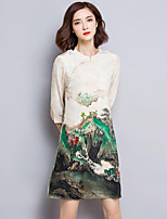 Women's Plus Size Vintage Sheath Dress,Print Stand Above Knee ¾ Sleeve Beige Silk Fall