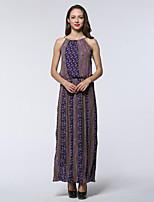 Women's Plus Size / Beach Boho Swing Dress,Print Round Neck Maxi Sleeveless Purple Cotton / Linen Summer