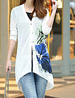 Women's Casual/Daily Simple Long Cardigan,Print Blue / Pink / White V Neck Long Sleeve Cotton Fall Medium