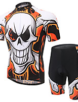 Men's Cycling Clothing Sets New Fashion Fire Skeleton Pattern Bicycle Sports Comfortable Short  Cycling Jersey 1 Set