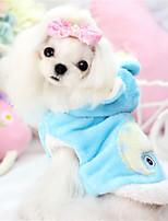 Cani Felpe con cappuccio Blu / Rosa / Giallo Abbigliamento per cani Inverno / Primavera/Autunno Tinta unita / Fantasia animale Casual
