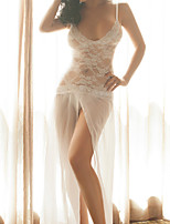 Women Lace Lingerie Nightwear,Sexy / Lace Jacquard-Thin Lace White Women's