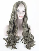 mujeres pelucas sintéticas baratas pelucas rizadas onduladas esponjoso peluca llena larga de lujo del pelo ondulado de moda de alta
