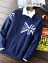 Мужской С принтом Пуловер На каждый день,Полиэстер,Длинный рукав,Синий