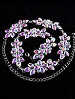 Dance Accessories Performance Belt Women's Performance Metal Crystals/Rhinestones / Flower(s) 1 Piece Silver waist chain