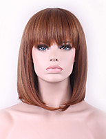 The New Cos Wig Brown Color Mixture Buckle Bobo Short Wig Within 12 Inch