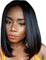 Natural Black Color Short BoB Style Light Yaki Straight Brazilian Virgin Human Hair Lace Front Wig With Baby Hair