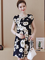 Maternity Casual/Daily Simple Loose Dress,Print Round Neck Above Knee Short Sleeve Black Polyester Summer