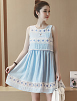 Women's Casual/Daily Cute Loose Dress,Solid Round Neck Above Knee Sleeveless Blue Cotton Summer