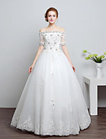 A-line Wedding Dress Floor-length Bateau Lace / Tulle with Beading / Lace