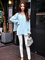 Women's Loose Casual/Daily Blouse,Solid V Neck Long Sleeve