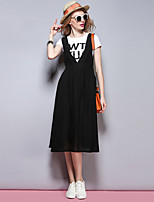 Sybel Women's Going out /  Street chic Sheath Dress,Solid Deep V Midi Sleeveless Black Polyester Summer / Fall
