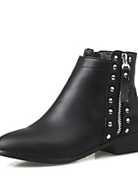Women's Shoes Winter Motorcycle Boots / Round Toe Boots Dress / Casual Low Heel Zipper Black / Brown / Gray