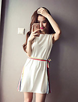 Maternity Casual/Daily Simple Loose Dress,Patchwork Round Neck Above Knee Sleeveless White / Black Spandex Summer
