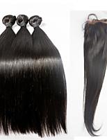 Brazilian Virgin Hair Lace Frontal With 3pieces Hair Bundles Silk Straight Virgin Hair