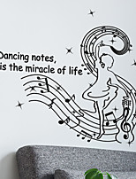 Music Room Dance Studio Dancing Notes Wall Stickers PVC Fashion Living Room Wall Decals