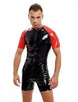 Men PVC PU Zipper Jumpsuit Pants