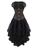 Burvogue Women's Dobby Gothic Steampunk Steel Boned Underbust Corset Dress
