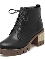Women's Shoes Leatherette Spring / Fall / Winter Bootie Boots Wedding / Party & Evening / Dress / Casual Chunky Heel