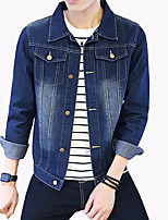 Men's Fashion Classical Solid Slim Fit Casual Long Sleeve Denim Jacket,Cotton/Print/Casual/Plus Size