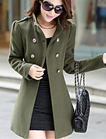 Women's Casual/Daily Simple Coat,Solid Turtleneck Long Sleeve Fall Blue / Red / Green Nylon Medium