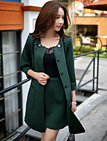 Women's Casual/Daily / Formal / Work Vintage / Street chic Trench Coat,Solid Round Neck ¾ Sleeve