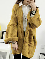 Women's Going out / Vintage Regular Cardigan,Solid White / Brown / Yellow Halter Long Sleeve Wool Fall / Winter Medium